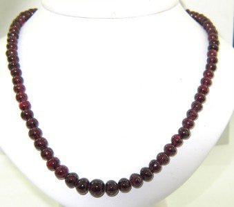 1: 14K Yellow Gold Garnet Bead Necklace