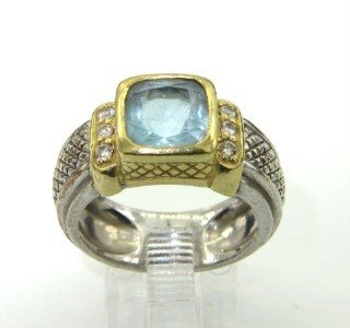 16A: Judith Ripka Silver/18K Gold, Blue Topaz Ring