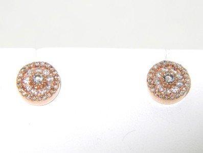 18: 18: 14K Rose Gold, Diamond Earrings