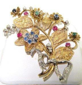 21: 21: 14K Gold Diamond, Sapphire, Ruby & Emerald Pin