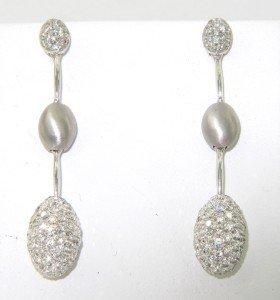 193: Salavetti 18K White Gold, Diamond Earrings