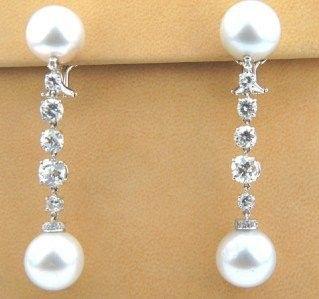 347: 347: Salavetti 18K White Gold Diamond & Pearl Earr
