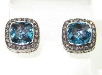 14: David Yurman Silver, Blue Topaz & Diamond Earrings