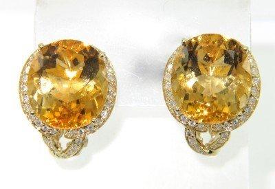 6: 14K Yellow Gold, Diamond Citrine Earrings