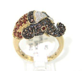 7: 14K Yellow Gold Garnet, Diamond & Smoky Topaz Ring
