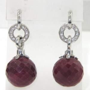 1: 18K White Gold, Ruby & Diamond Earrings