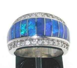 2: 14K White Gold, Blue Enamel & Diamond Ring