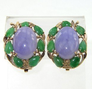 3: 3: 14K Yellow Gold Colored Jade Earrings