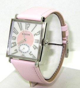 5A: 5A: Milus Stainless Steel Leather Strap Watch