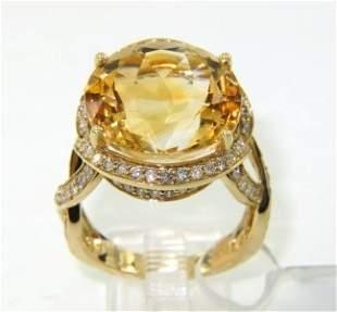14K Yellow Gold Citrine & Diamond Ring