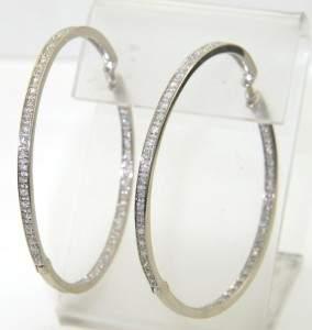 9: 14K White Gold Diamond Hoop Earrings