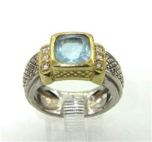 Judith Ripka Silver/18K Gold, Blue Topaz & Diam