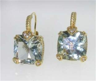 Judith Ripka 18K Gold, Prasiolite & Diamond Earring