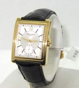 398: Patek Philippe 18K Yellow Gold Leather Strap Watch