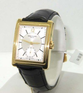398: Patek Philippe 18K Yellow Gold Leather Strap Watch