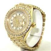 259: Rolex 18K Yellow Gold Diamond President Watch