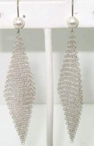 Tiffany & Co Peretti Silver Pearl Mesh Earrings