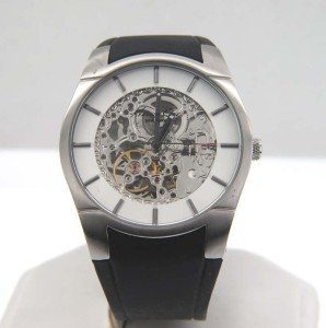 4: 4: Kenneth Cole Stainless Steel Skeleton Watch