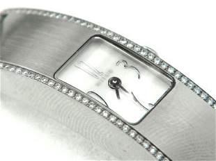 20: Milus Stainless Steel Diamond Leather Strap Wat