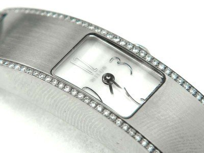 20: 20: Milus Stainless Steel Diamond Leather Strap Wat
