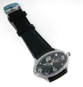 22: Techno Com Diamond Stainless Steel Leather Stra