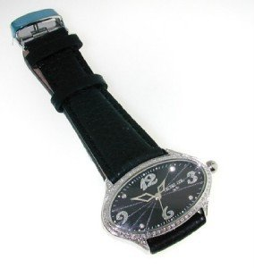 22: 22: Techno Com Diamond Stainless Steel Leather Stra