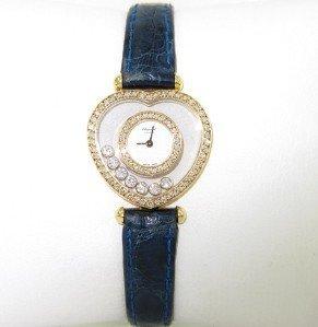 47: Chopard 18K Yellow Gold Diamond Leather Strap Watch