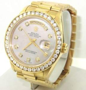 245: Rolex 18K Yellow Gold Diamond President Watch