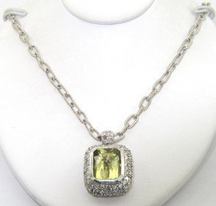 6: Salavetti 18K White Gold, Diamond & Citrine Necklace