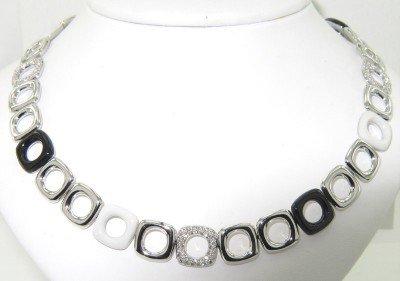 9: Tiffany & Co 18K White Gold Diamond & Enamel Necklac