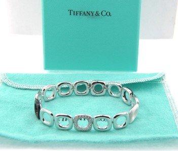 11: Tiffany & Co 18K White Gold Diamond & Enamel Bracel