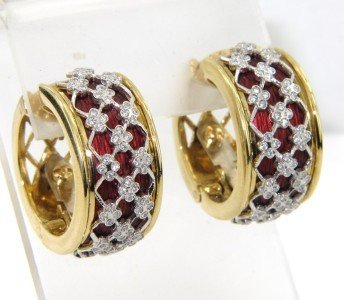 14: Salavetti 18K Yellow Gold, Diamond & Enamel Earring