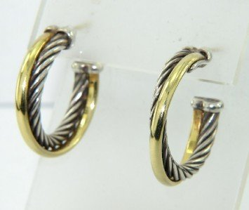 17: David Yurman Silver/18K Yellow Gold Earrings
