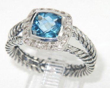 8: David Yurman Silver Blue Topaz & Diamond Ring
