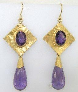4: Antique 18K Yellow Gold Amethyst Earrings
