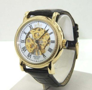 7A: Nicolet Stainless Steel Skeleton Leather Strap Watc