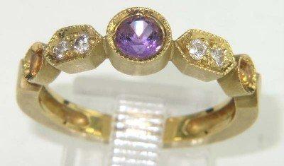 6A: 18K Yellow Gold Amethyst, Citrine & Diamond Ring