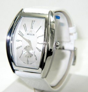 6B: Milus Stainless Steel Skeleton Leather Strap Watch