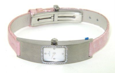 5C: Milus Stainless Steel Diamond Leather Strap Watch