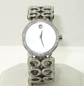 13: Movado Stainless Steel Diamond Watch