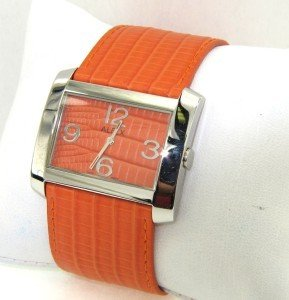 15: ALFEX Stainless Steel Leather Strap Watch