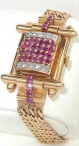 166: 14K Rose Gold Ruby & Diamond Watch From 1950