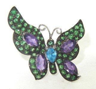 14K White Gold Colored Stones Butterfly