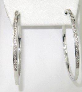 6: 14K White Gold Diamond Hoop Earrings