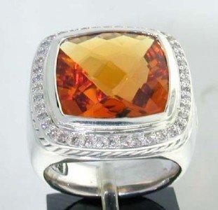 12: David Yurman Silver Citrine Diamond Ring.