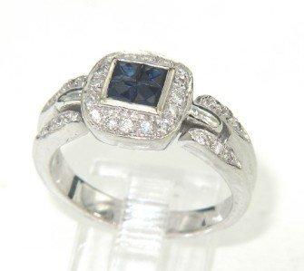 13: 18K White Gold Sapphire & Diamond Ring