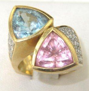 17: 18K Gold Pink Tourmaline, Blue Topaz & Diamond Ring