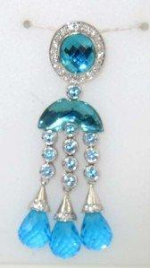 49: Silver Diamond And Blue Topaz Pendant