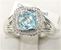 72A: Charles Krypell 14K Gold/Silver Blue topaz Diamond