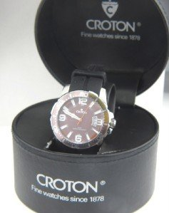 2: Croton Stainless Steel Rubber Strap Watch